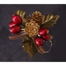 聖誕-花插-紅果+金松果