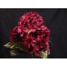 人造花-5頭4角輻射繡球(暗紅)