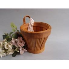 木片提籃花器(小-淺色)