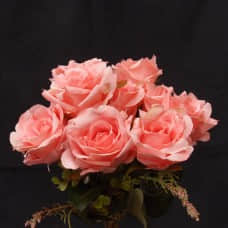 人造花-9頭捲邊玫瑰(秋粉)
