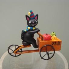 萬聖節-5EH1161貓咪騎腳踏車載南瓜小擺飾