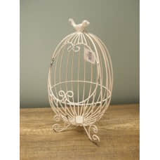縷空-NATURE DESIGNS 花器 45325  Iron Basket  Egg Ivory