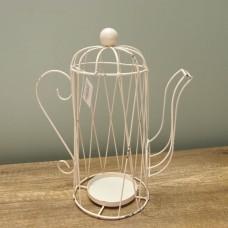 縷空-NATURE DESIGNS 花器 45326  Iron Basket Teapot Ivory