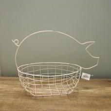 縷空-NATURE DESIGNS 花器 45328 Iron Basket Pig 大 Ivory