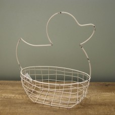 縷空-NATURE DESIGNS 花器 45329  Iron Basket Duck 大 Ivory