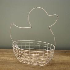 縷空-NATURE DESIGNS 花器 45329  Iron Basket Duck 大 Ivory
