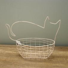 縷空-NATURE DESIGNS 花器45330  Iron Basket  Cat 大 Ivory