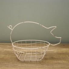 縷空-NATURE DESIGNS 花器 45331 Iron Basket Pig 小  Ivory