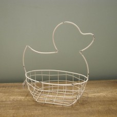 縷空-NATURE DESIGNS 花器 45332 Iron Basket Duck 小  Ivory
