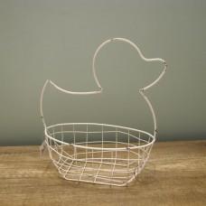 縷空-NATURE DESIGNS 花器 45332 Iron Basket Duck 小  Ivory
