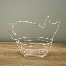 縷空-NATURE DESIGNS 花器 45333  Iron Basket  Cat 小  Ivory