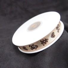 緞帶-薑餅人緞帶(米白)-小 800 #372