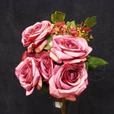 人造花-12頭韓式捲邊玫-紫紅