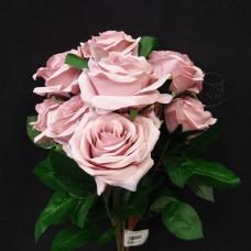 人造花-10頭春淺紫荷蘭玫瑰