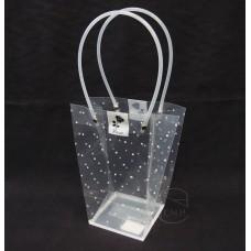 包裝-PVC透明花袋印點-小(白)