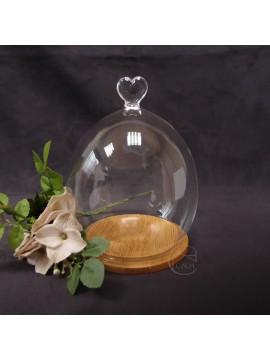 玻璃-11X15愛心罩+木底座