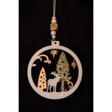 圓麋鹿聖誕樹吊飾