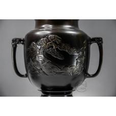 銅器 日本銅鑄薄端花器 共耳山水(需預訂)