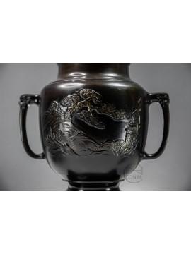 銅器 日本銅鑄薄端花器 共耳山水
