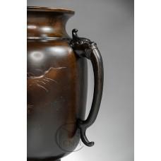銅器 日本銅鑄薄端花器 共耳孔雀 (需預訂)