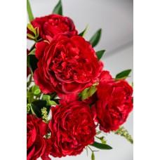 人造花 9頭百香月季花束 紅