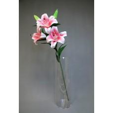 人造花 3花2蕾百合 粉白