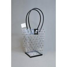包裝-PVC透明花袋印點小(黑)