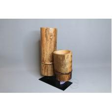 原木花器-雙竹筒花器+鐵座