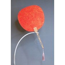 扇子 熟宣鎏金 紅 圓形