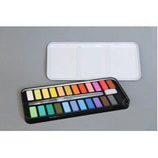 24色固體彩色水彩塊 黑色盒