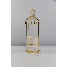 陶瓷 方皇冠金+陶瓷白杯花插
