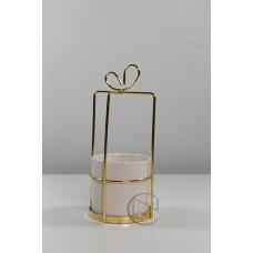 陶瓷 方形金蝴蝶結白杯M 中