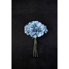 人造花 3頭卷邊 芍藥花束 藍灰