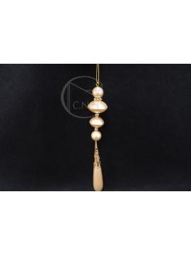 特價品-珍珠花插-圓扁-白金