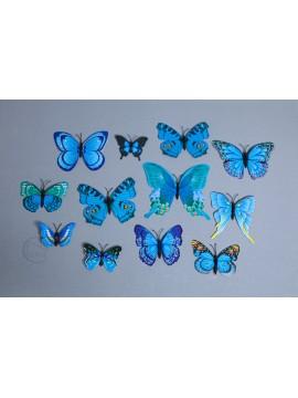 裝飾 PVC蝴蝶 藍 5-12cm