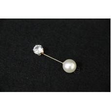 材料-圓形鑽石 珍珠釦針