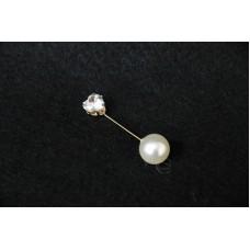 材料-愛心形鑽石 珍珠釦針