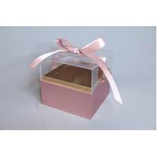 壓克力紙魔方花盒 玫瑰金