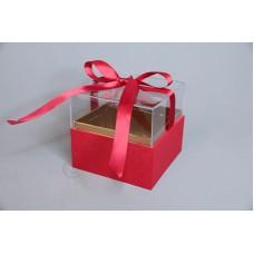壓克力紙魔方花盒 大紅
